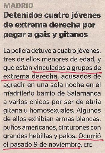 2012-12-12- La Voz de Galicia- Agresión a gays de la ultraderecha