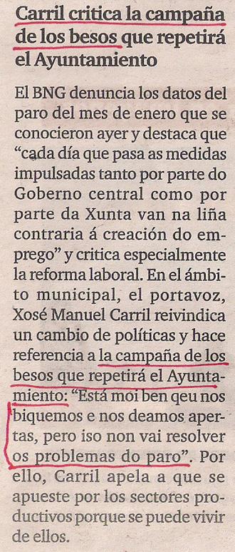2013-02-06- El Ideal Gallego- Campaña de besos en Coruña