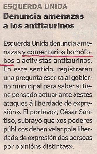 2013-02-09- La Voz de Galicia- Esquerda Unida- Antitaurinos