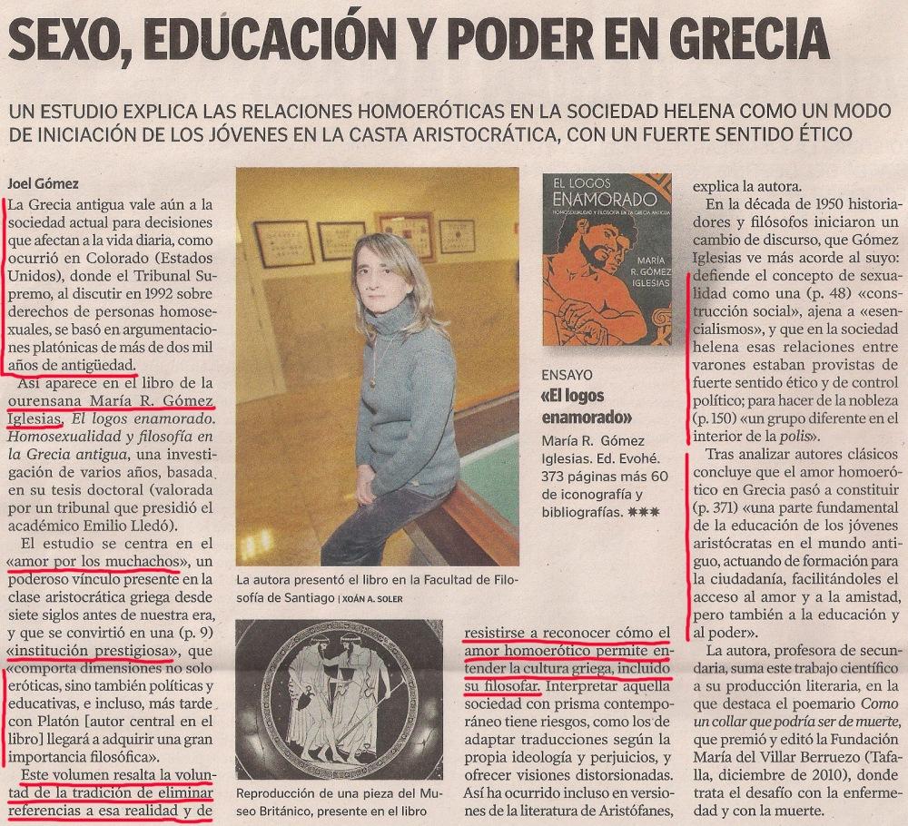 2013-03-02- La Voz de Galicia- El logos enamorado - María R. Gómez