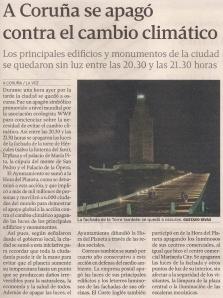 2013-03-24- La Voz de Galicia- La Torre de Hércules apaga las luces