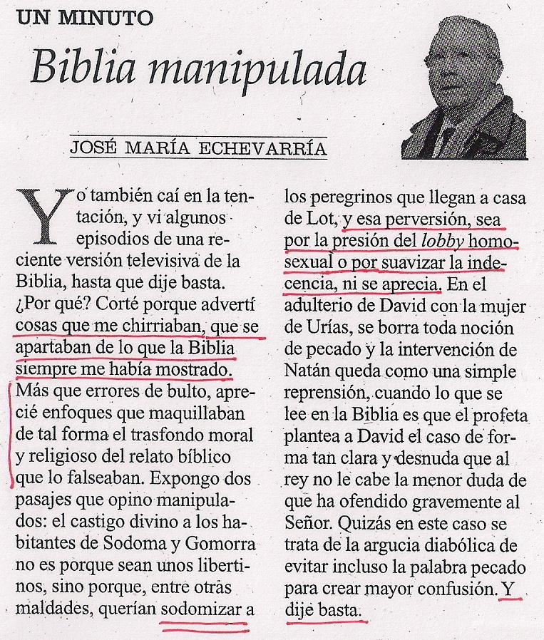 2013-04-11- La Opinión- josé maría echevarría- Integrista religioso