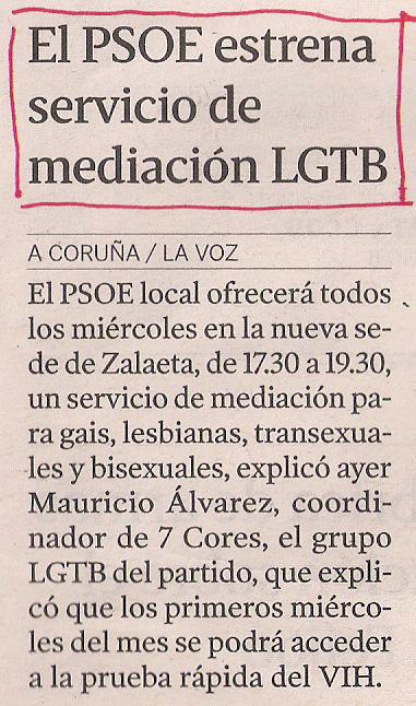 2013-04-30- La Voz de Galicia- Servicio LGTB- 7 Cores