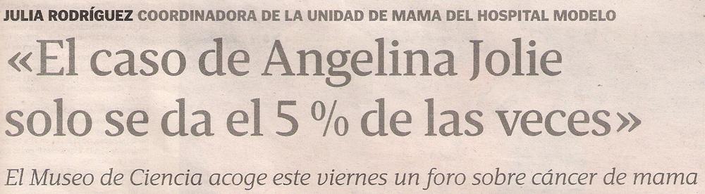 2013-05-19- La Voz de Galicia- Cáncer de mama- Museo de Ciencia 1