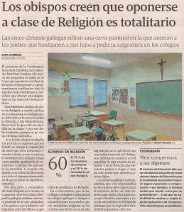 2013-05-23- La Voz de Galicia- obispos y totalitarismo religioso