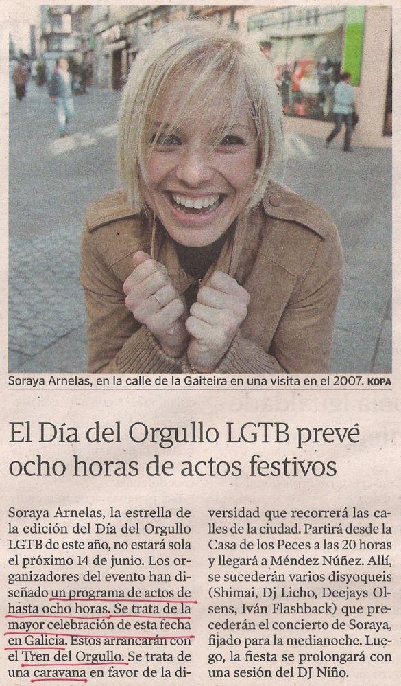 2013-05-24- La Voz de Galicia- Día del Orgullo LGTB en A Coruña