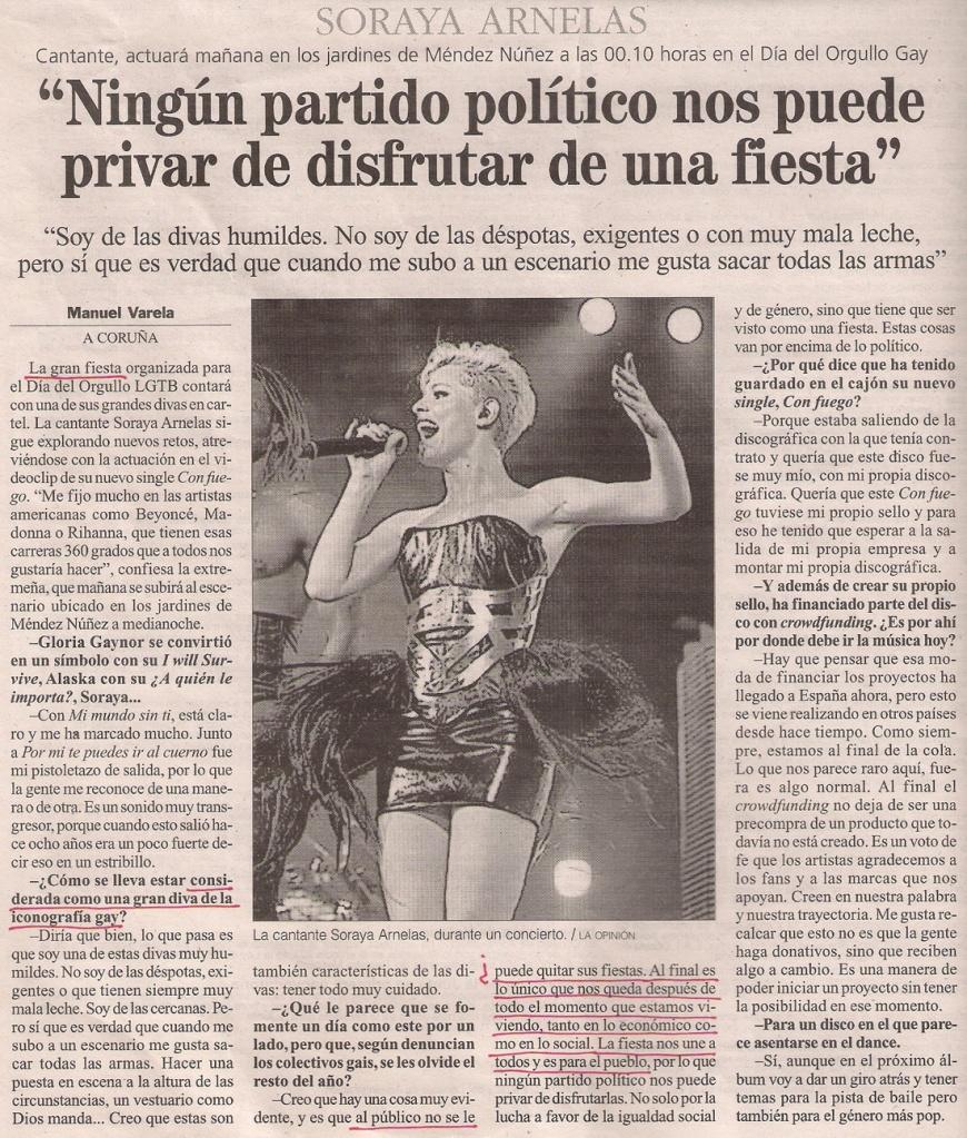 2013-06-13- La Opinión- Soraya Arnelas en el Orgullo Gay