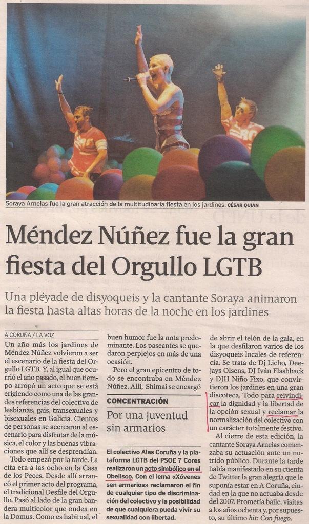2013-06-15- La Voz de Galicia- Orgullo Gay Coruña- Soraya Arnelas 1