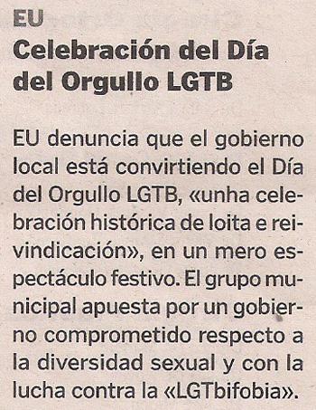 2013-06-16- La Voz de Galicia- Orgullo Gay- IU-EU- Coruña