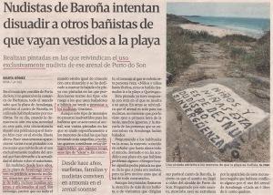 2013-06-28- La Voz de Galicia- Baroña- nudistas contra textiles