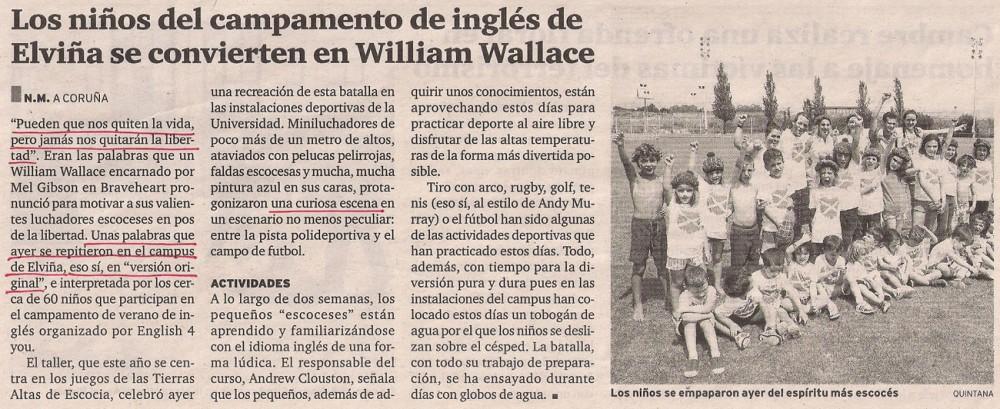 2013-07-13- El Ideal Gallego- Campamento de ingés para niños Coruña
