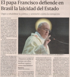 2013-07-28- La Voz de Galicia- papa francisco - Laicidad del Estado