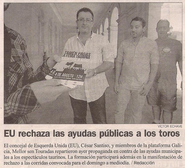 2013-07-31- La Opinión- IU-EU - Galicia Mellor sen Touradas
