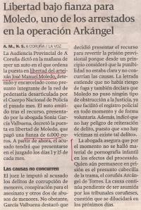 2013-08-01- La Voz de Galicia- Operación Arkangel- José Manuel Moledo