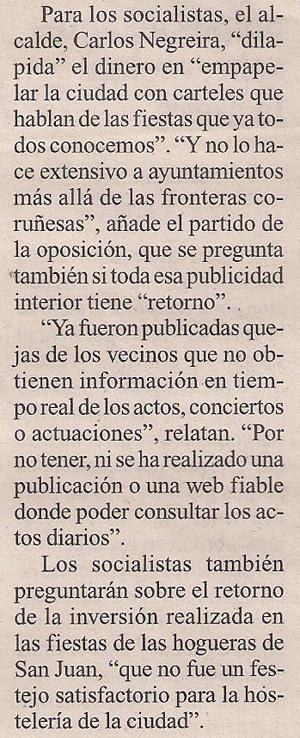 2013-08-15- La Opinión- PSOE, pp y publicidad institucional 2
