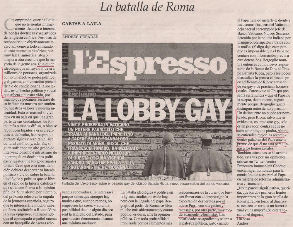 2013-08-24- La Opinión- Cartas a Laila- El papa francisco