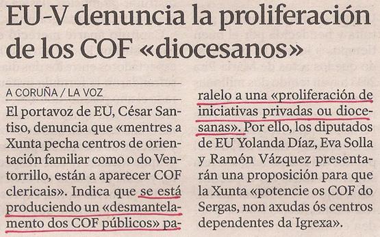 2013-08-29- La Voz de Galicia- IU COF de la iglesia