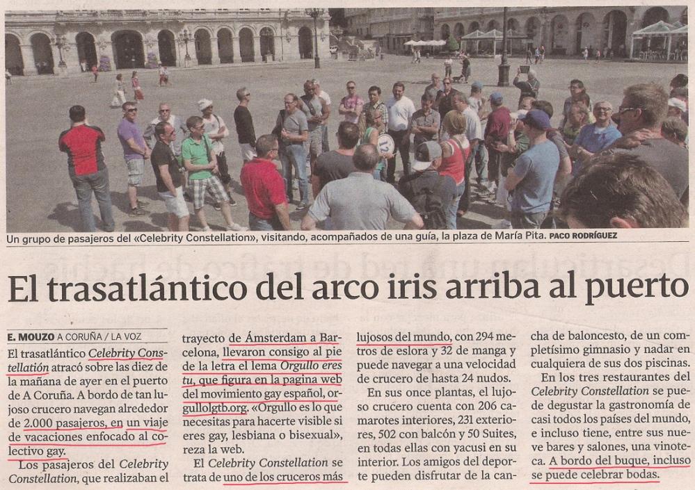 2013-09-10- La Voz de Galicia- Crucero gay en Coruña 1.jpg