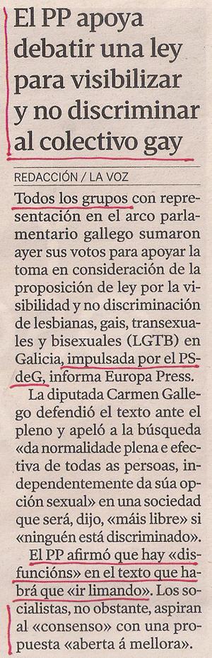 2013-09-11- La Voz de Galicia- Parlamento Gallego- Ley Visibilidad PSOE