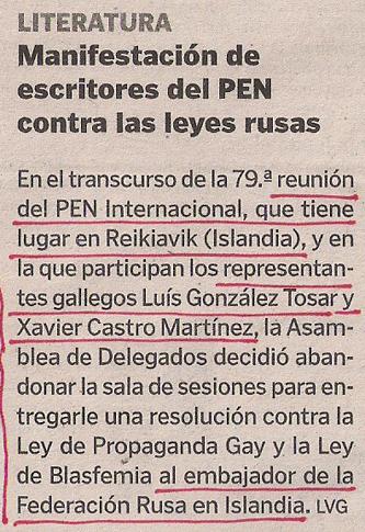2013-09-12- La Voz de Galicia- PEN Internacional- Rusia