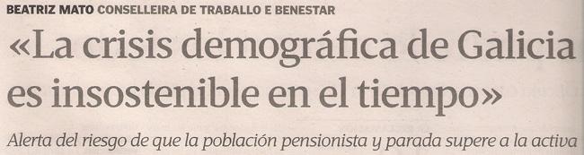 2013-09-29- La Voz de Galicia- Beatriz Mato- Demografía 1