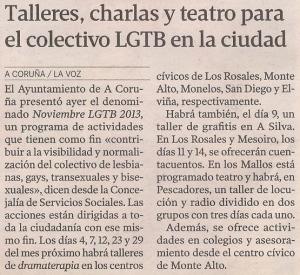 2013-10-25- La Voz de Galicia- Noviembre LGTB