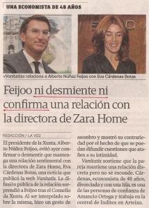 2013-11-01- La Voz de Galicia- núñez feijoo y Eva Cárdenas Botas