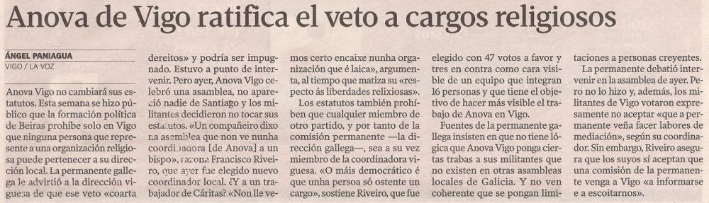 2013-11-17- La Voz de Galicia- ANOVA y los cargos religiosos