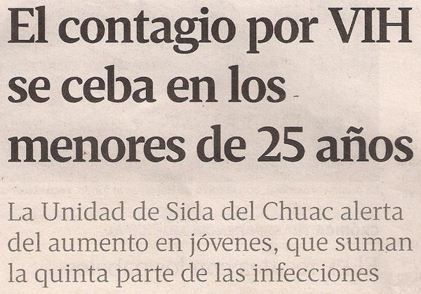 2013-11-30- La Voz de Galicia- VIH en jóvenes homosexuales 1