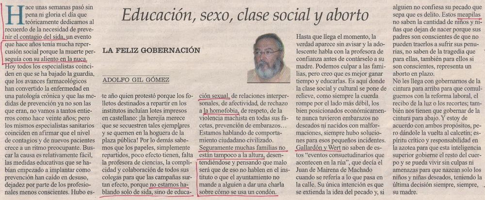 2013-12-31- La Opinión- Educación sexual - Adolfo Gil Gómez