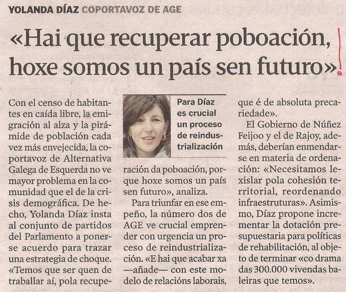 2014-01-05- La Voz de G- Yolanda Díaz- Demografía