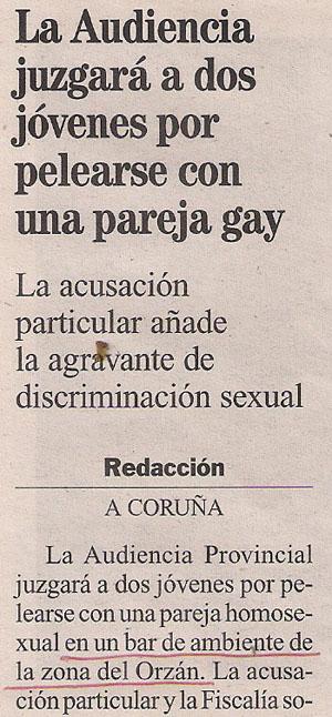 2014-02-14- La Opinión- Agresión a una pareja gay en Coruña 1
