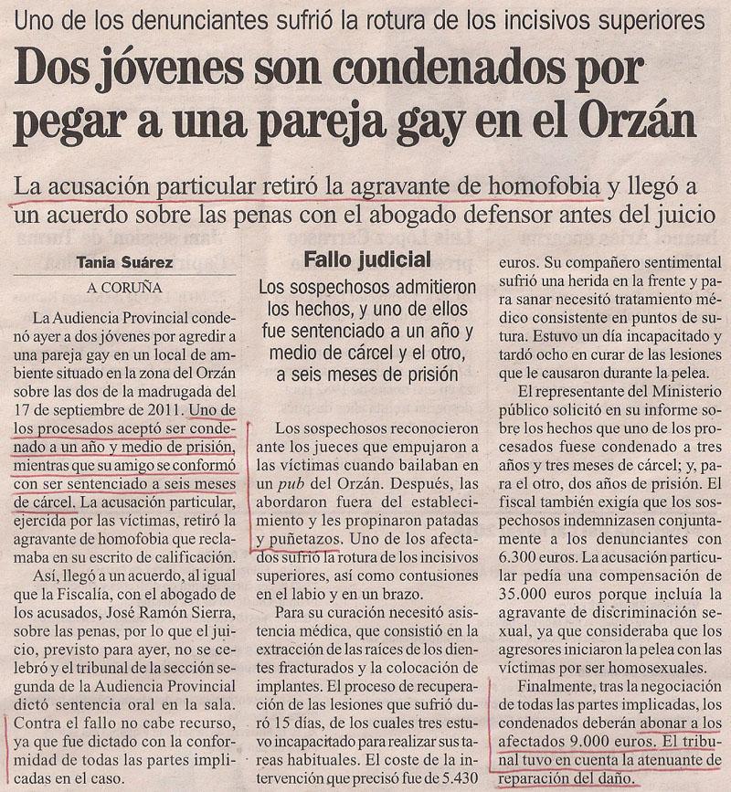 2014-02-19- La Opinión- Agresión a dos gays en el Orzán