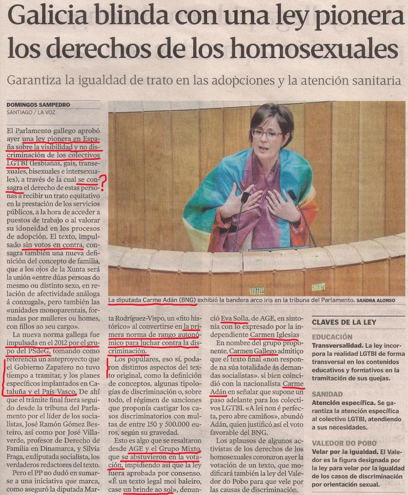 2014-04-09- La Voz de G- Ley de no discriminación LGTBI 1