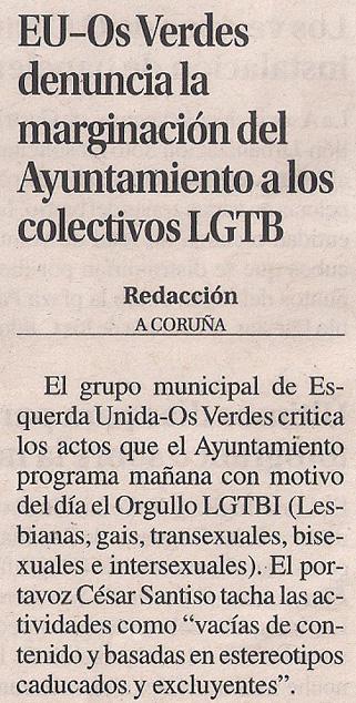 2014-06-27- La Opinión- Orgullo Gay- Esquerda Unida Coruña 1