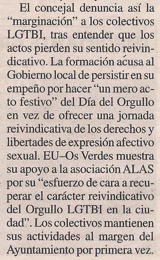 2014-06-27- La Opinión- Orgullo Gay- Esquerda Unida Coruña 2