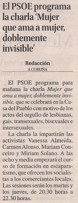2014-06-30- La Opinión- PSOE Casa del Pueblo - Visibilidad lésbica
