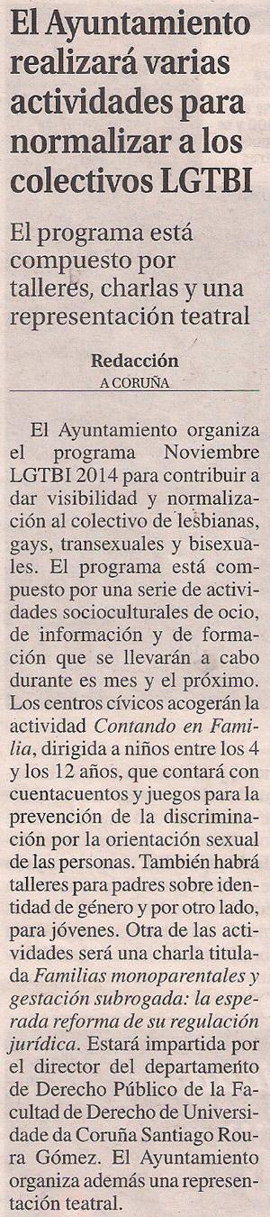 2014-11-13- La Opinión- Noviembre LGTBI Coruña