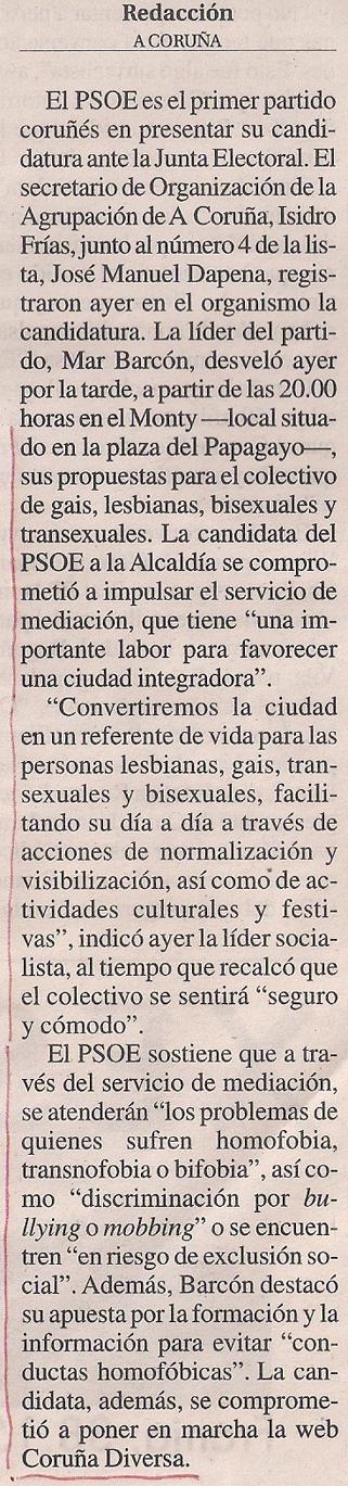 2015-04-17- La Opinión- Programa LGTBI del PSOE Coruña 2