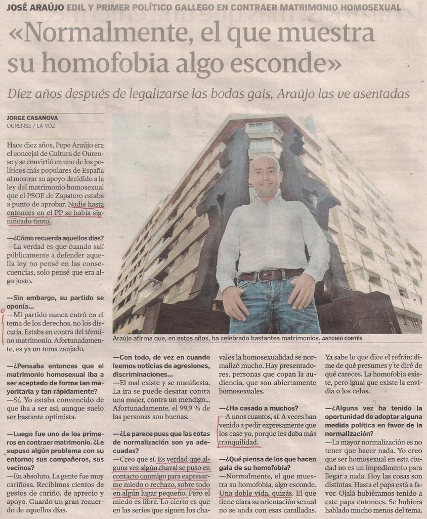 2015-06-29- La Voz de G- José Araujo - gay pp ourense casado
