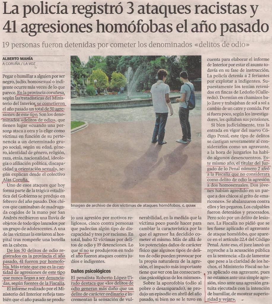 2016-01-26- La Voz de G- Agresiones a homosexuales en Galicia 1