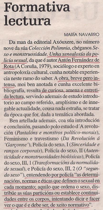 2016-04-09- La Opinión-Sexo e monstruosidade Antón Fernández 1