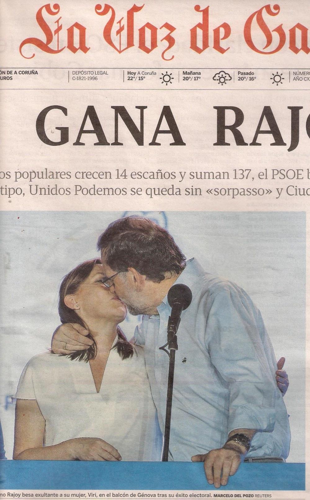 2016-06-28- La Voz de G- mariano rajoy besa a una mujer