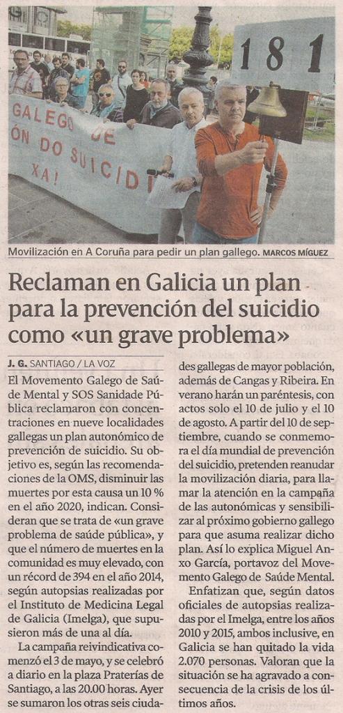 2016-07-01- La Voz de G- Movemento Galego de Saúde Mental