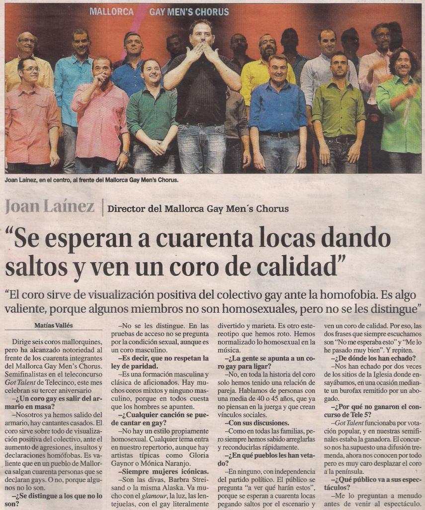 2016-08-18- La Opinión- Mallorca Gay Men´s Chorus 1